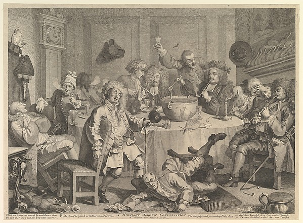 Fascinating Historical Picture of William Hogarth with A Midnight Modern Conversation on 3/15/1732