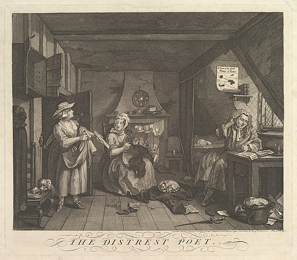 Fascinating Historical Picture of William Hogarth with The Distrest Poet on 12/15/1740
