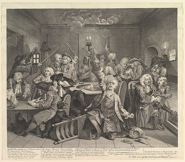 Fascinating Historical Picture of William Hogarth with A Rakes Progress Plate 6 on 6/25/1735