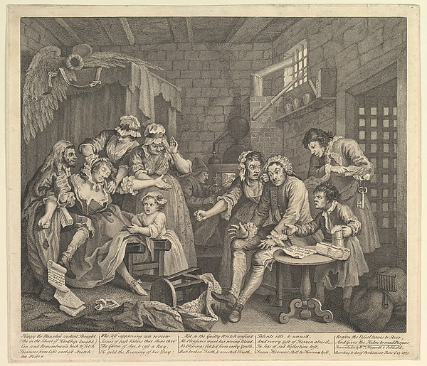 Fascinating Historical Picture of William Hogarth with A Rakes Progress Plate 7 on 6/25/1735
