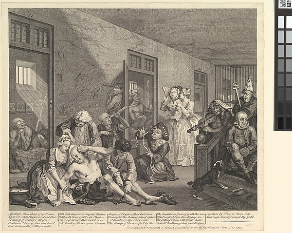 This is What William Hogarth and A Rakes Progress Plate 8 Looked Like  on 6/25/1735