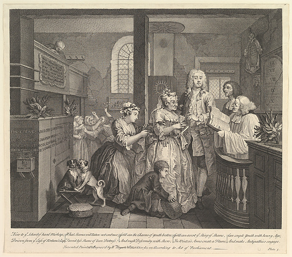 Fascinating Historical Picture of William Hogarth with A Rakes Progress Plate 5 on 6/25/1735