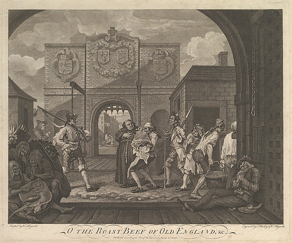 Fascinating Historical Picture of  with O the Roast Beef of Old England--The Gate of Caiais on 3/6/1749