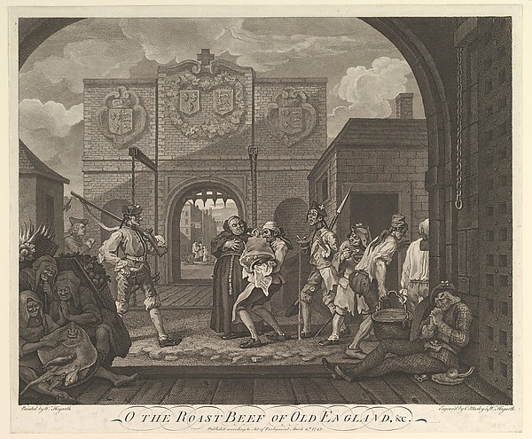 Fascinating Historical Picture of  with O the Roast Beef of Old England--The Gate of Calais on 3/6/1749