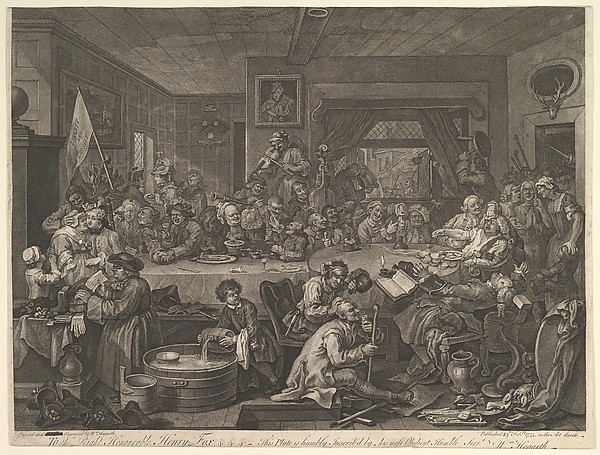 Fascinating Historical Picture of William Hogarth with An Election Entertainment Plate I| Four Prints of an Election on 2/24/1755