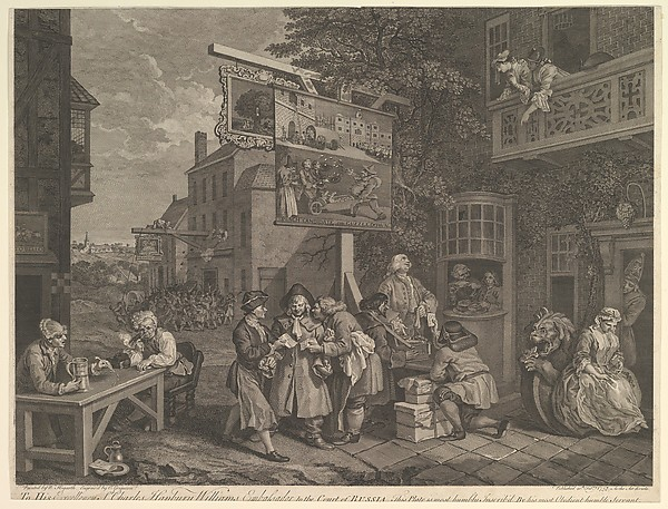 Fascinating Historical Picture of William Hogarth with Canvassing for Votes Plate II| Four Prints of an Election on 2/20/1757