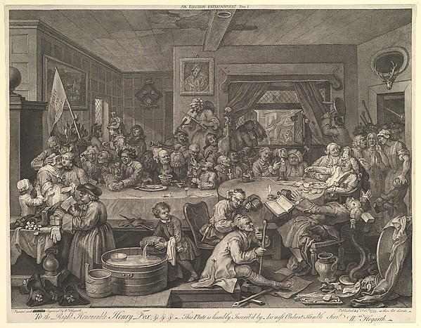 Fascinating Historical Picture of William Hogarth with An Election Entertainment Plate I| Four Prints of an Election on 2/15/1755
