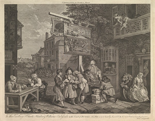 Fascinating Historical Picture of after William Hogarth with Canvassing for Votes Plate II| Four Prints of an Election on 2/20/1757