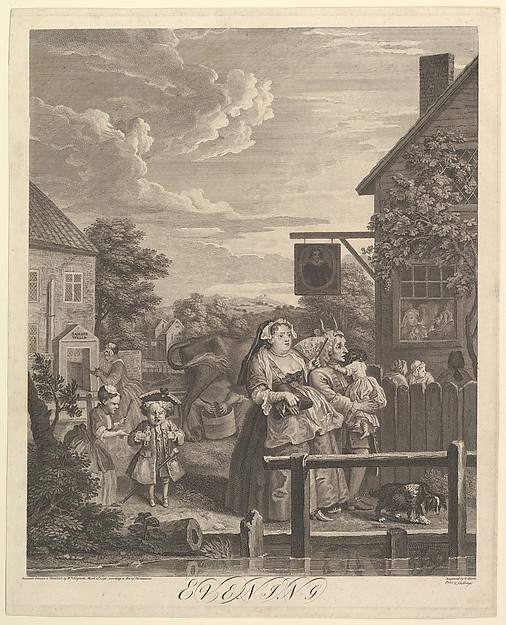 Fascinating Historical Picture of William Hogarth with Evening (The Four Times of Day) on 3/25/1738