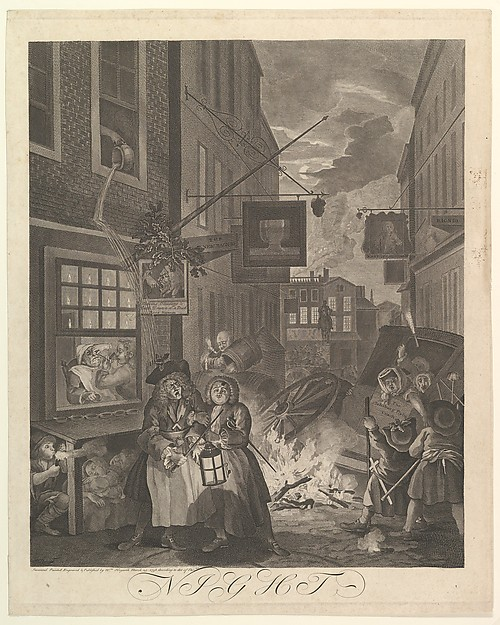 Fascinating Historical Picture of William Hogarth with Night (The Four Times of Day) on 3/25/1738