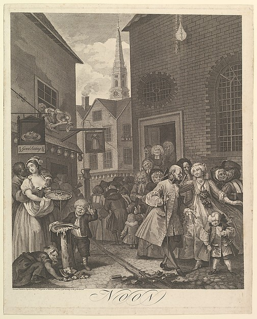 Fascinating Historical Picture of William Hogarth with Noon (The Four Times of Day) on 3/25/1738