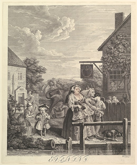 Fascinating Historical Picture of William Hogarth with Evening| The Four Times of Day on 3/25/1738