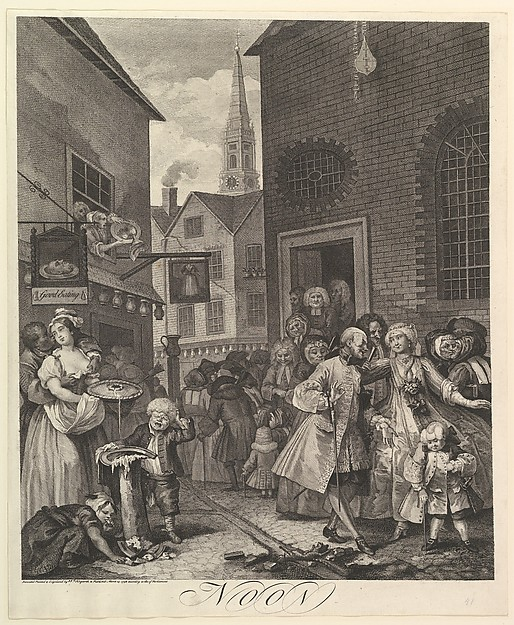 Fascinating Historical Picture of William Hogarth with Noon| The Four Times of Day on 3/25/1738
