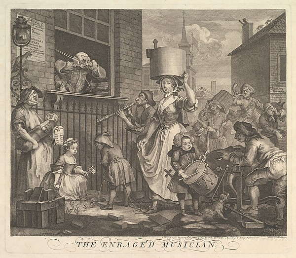 This is What William Hogarth and The Enraged Musician Looked Like  on 11/30/1741