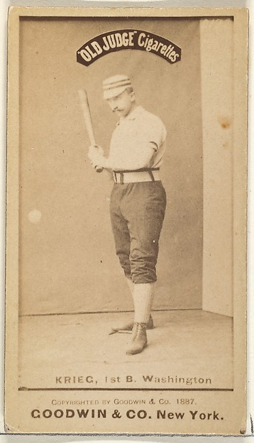 "William ""Bill"" Frederick Krieg, 1st Base, Washington Nationals, from the Old Judge series (N172) for Old Judge Cigarettes"