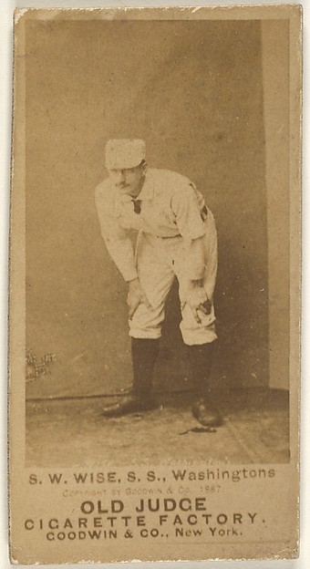 """Samuel Washington """"Sam"""" Wise, Shortstop, Washington Nationals, from the Old Judge series (N172) for Old Judge Cigarettes"""