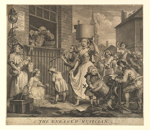 Fascinating Historical Picture of William Hogarth with The Enraged Musician on 11/30/1741