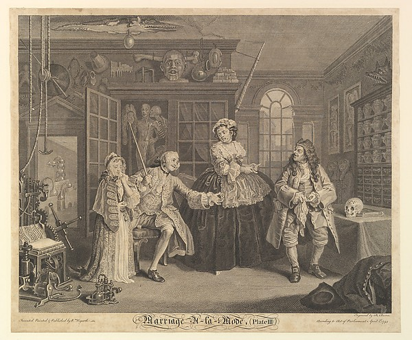 Fascinating Historical Picture of William Hogarth with Marriage A-la-Mode Plate III on 4/1/1745