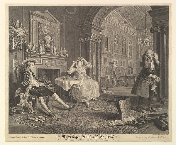 Fascinating Historical Picture of William Hogarth with Marriage A-la-Mode Plate II on 4/1/1745