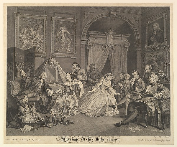 Fascinating Historical Picture of William Hogarth with Marriage A-la-Mode Plate IV on 4/1/1745