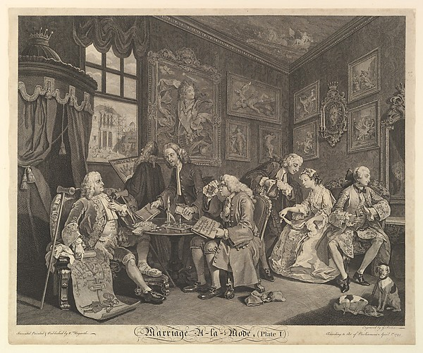 Fascinating Historical Picture of William Hogarth with Marriage A-la-Mode Plate I on 4/1/1745