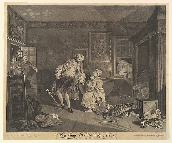 Fascinating Historical Picture of William Hogarth with Marriage A-la-Mode Plate V on 4/1/1745
