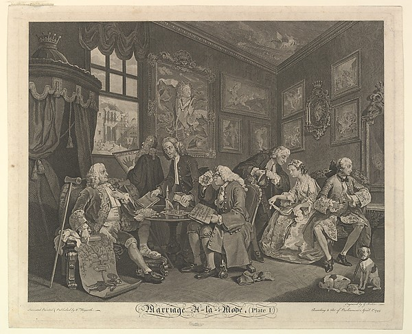 Fascinating Historical Picture of William Hogarth with Marriage A-la-Mode Plate I on 4/15/1745