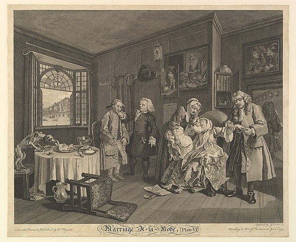 Fascinating Historical Picture of William Hogarth with Marriage A-la-Mode Plate VI on 4/1/1745