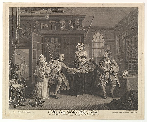 Fascinating Historical Picture of William Hogarth with Marriage A-la-Mode Plate III on 4/15/1745