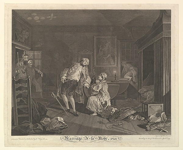 Fascinating Historical Picture of William Hogarth with Marriage A-la-Mode Plate V on 4/15/1745