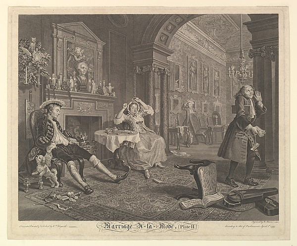 Fascinating Historical Picture of William Hogarth with Marriage A-la-Mode Plate II on 4/15/1745