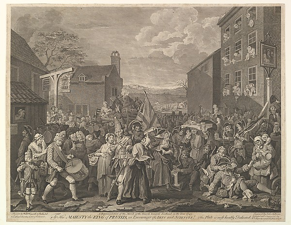 Fascinating Historical Picture of William Hogarth with The March to Finchley--A Representation of the March of the Guards towards Scotland in the Year 1745 on 6/12/1761