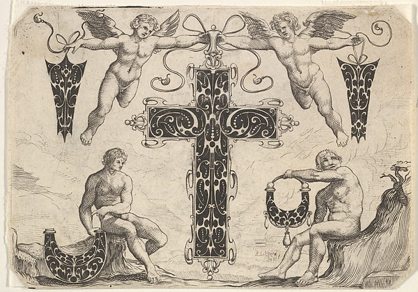 Fascinating Historical Picture of  with Cross-shaped Pendant and Four Other Motifs in 1622