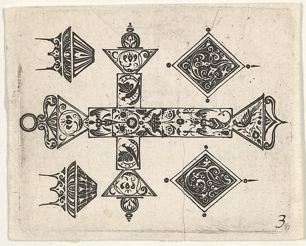 Fascinating Historical Picture of  with Blackwork Print with a Latin Cross and Four Motifs in 1620