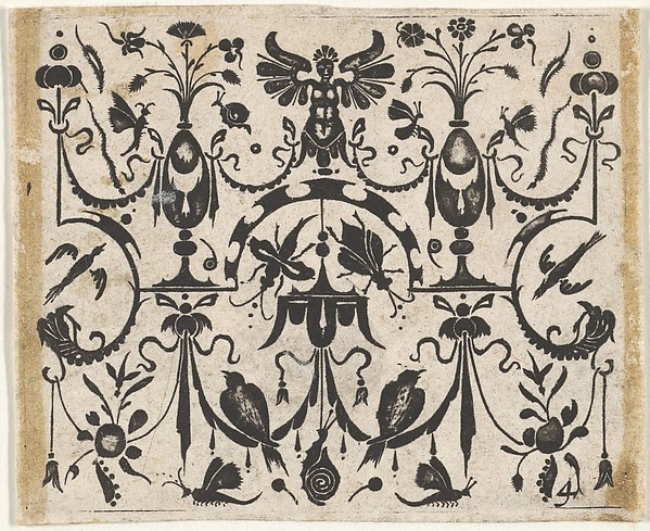Fascinating Historical Picture of  with Blackwork Print with a Symmetric Grotesque Pattern in 1620