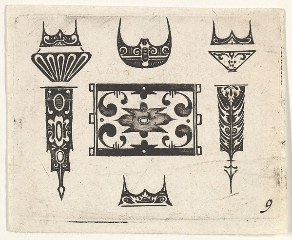 Fascinating Historical Picture of  with Blackwork Print with Nine Motifs in 1620