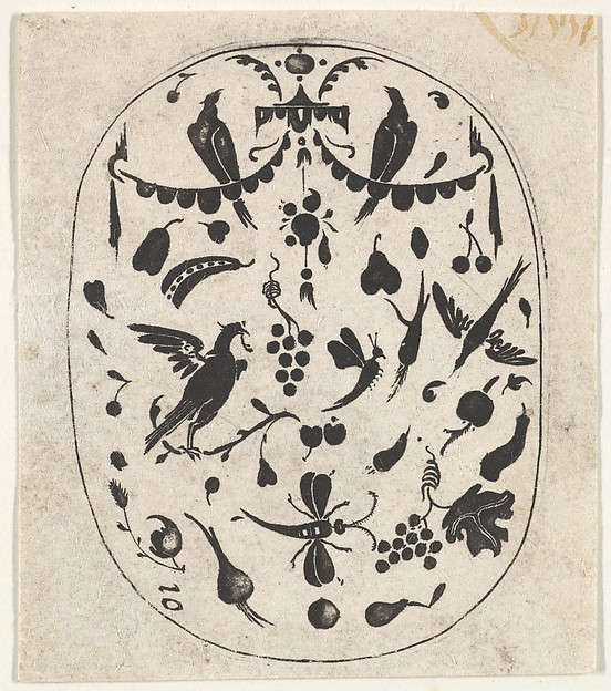 Fascinating Historical Picture of Hertzog von Brin with Oval Blackwork Print with Birds Insects and Fruits in 1620