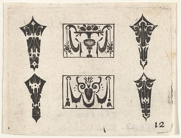 Fascinating Historical Picture of Hans de Bull with Blackwork Print with Two Horizontal Panels and Four Bezels in 1620