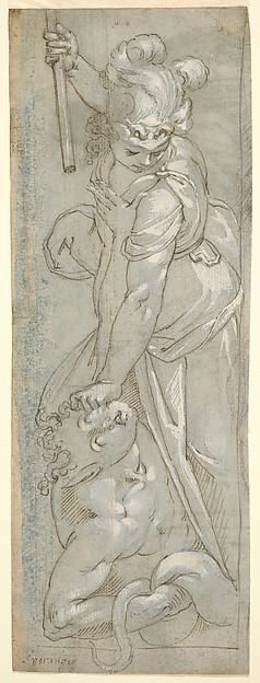 Female Warrior crushing a Satyr