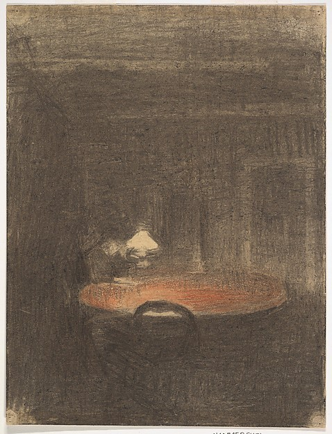 Figure reading at a Table in an Interior at Night