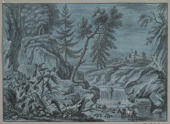 Southern Landscape with a Waterfall and Goats