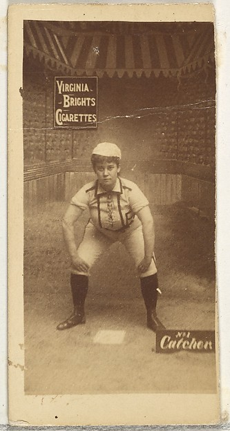 Catcher, from the Girl Baseball Players series (N48, Type 2) for Virginia Brights Cigarettes