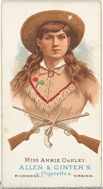 Miss Annie Oakley, Rifle Shooter, from World's Champions, Series 1 (N28) for Allen & Ginter Cigarettes