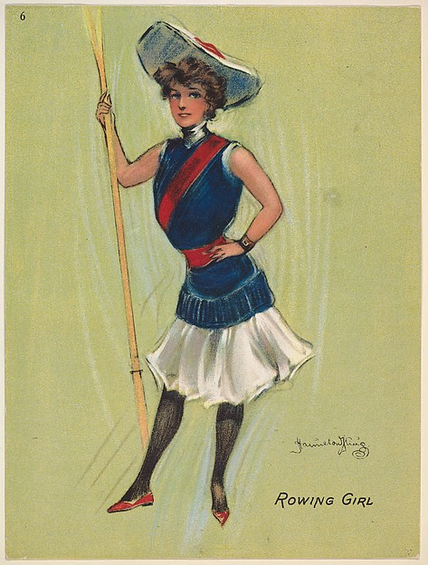 """Rowing Girl, from the series """"Hamilton King Girls"""" (T7, Type 6), issued by Turkish Trophies Cigarettes"""