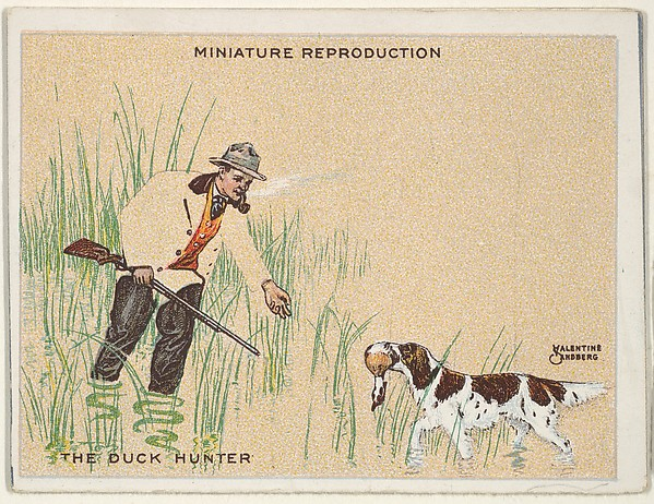 "Card 314, The Duck Hunter, from the series ""Artistic Pictures"" (T32), issued by Liggett & Myers Tobacco Company to promote Richmond Straight Cut Cigarettes"