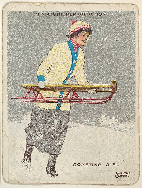 "Card 317, Coasting Girl, from the series ""Artistic Pictures"" (T32), issued by Liggett & Myers Tobacco Company to promote Richmond Straight Cut Cigarettes"