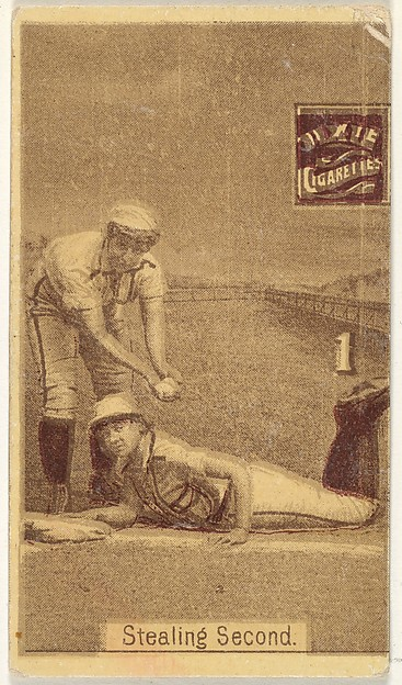 "Card 1, Stealing Second, from the series ""Women Baseball Players"" (N508), issued by Pacholder Tobacco to promote Dixie Cigarettes"
