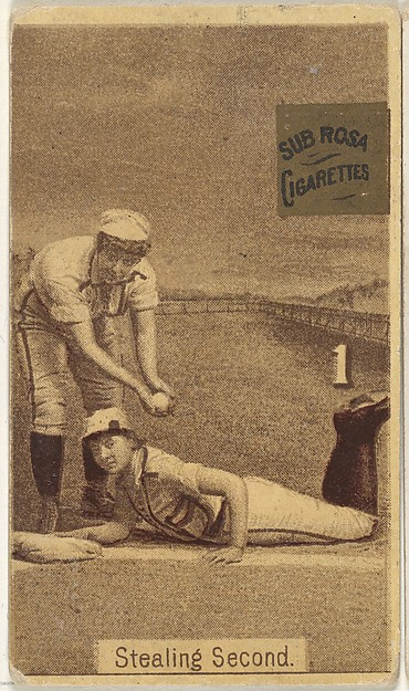 "Card 1, Stealing Second, from the series ""Women Baseball Players"" (N508), issued by Pacholder Tobacco to promote Sub Rosa Cigarettes"