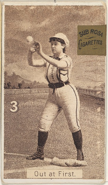 "Card 3, Out at First, from the series ""Women Baseball Players"" (N508), issued by Pacholder Tobacco to promote Sub Rosa Cigarettes"