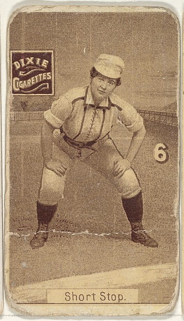 "Card 6, Short Stop, from the series ""Women Baseball Players"" (N508), issued by Pacholder Tobacco to promote Dixie Cigarettes"